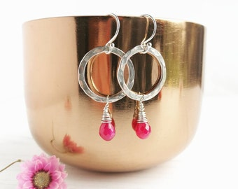 Ruby earrings. Hammered Silver hoops with rich pink Ruby briolette drops. Perfect for weddings or every day.