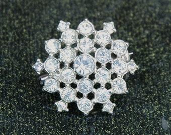 Rhinestone Snowflake 50s Pin Vintage