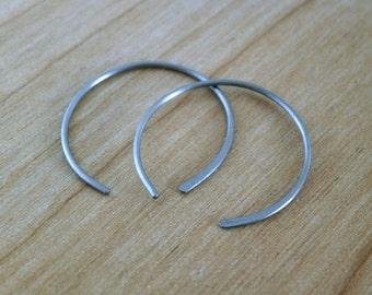 Pure Titanium Earrings Sterling Silver Hoops Half Hoop Earrings Minimalist Jewelry Gray Earrings Modern Artisan Metalwork Hypoallergenic