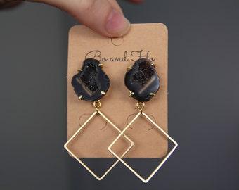 Black Geode Earrings