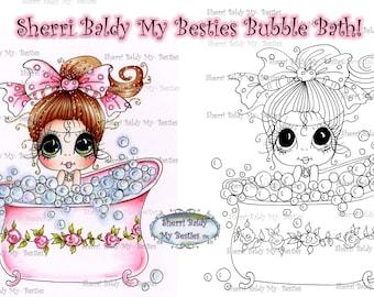 INSTANT DOWNLOAD Digital Digi Stamps Big Eye Big Head Dolls Digi  My Besties Bath Time IMG329 By Sherri Baldy