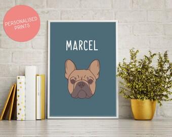 French Bulldog Personalised Name Print, French Bulldog, Personalised Gift, Birthday Present, Frenchie Print, Personalised Print, Poster
