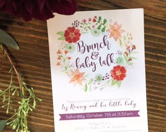 Water Color Wreath, Brunch and Baby Talk, Baby Shower Invitation, Baby Girl Shower Invitation