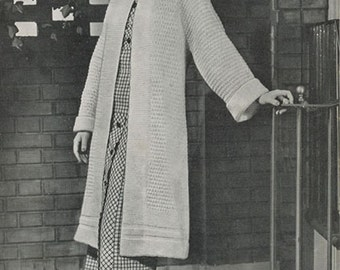 KNITTING CROCHET PATTERNS Long Sweater Coat and Beret Instant Download pdf