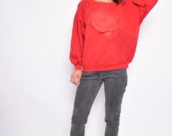 Embellished Red Sweatshirt / Oversized Long Sleeve 80's Vintage - Size XL