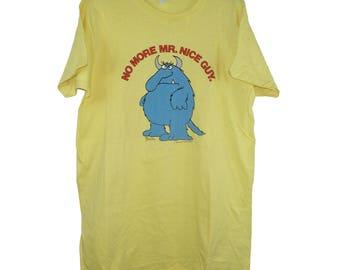 1970s 'No More Mr. Nice Guy' Cartoon Yellow Tee T Shirt - Large /  XL