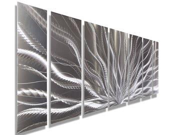 SALE! Silver Modern Metal Wall Art Sculpture, Abstract Metal Art Wall Hanging, Multi Panel Metal Wall Decor - Galactic Expanse by Jon Allen