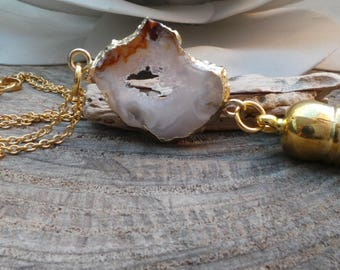 Long gold chain druzy necklace. Druzy tassel necklace. Geode slice necklace. Druzy necklace. Electroplated