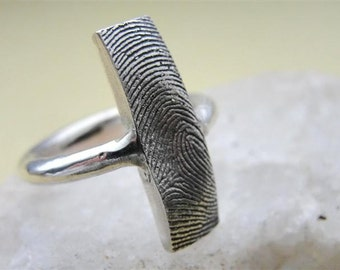 Fingerprint Ring Jewelry Thumbprint Band Personalized Sterling Silver