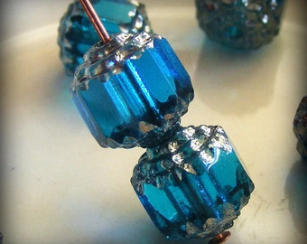 Czech Glass Cathedral Beads 8mm Fire Polish Aqua with Silver (Qty 8) SRB-8FPC-A