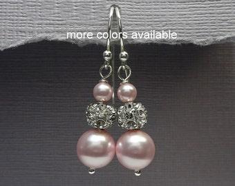Blush Pink Earrings, Pin Wedding Earrings, Light Pink Pearl Earrings, Bridesmaid Jewelry, Personalized Bridesmaid Gift, Bridesmaid Earrings