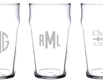 Personalized or monogrammed Nonic pint glass 20 oz.