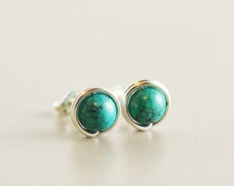 Turquoise Studs, Sterling Post Earrings, December Birthstone