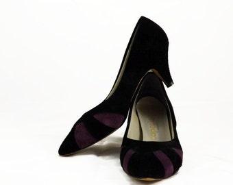 80s Capezio Black and Purple Suede Pumps Heels Size US 7.5