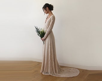 Champagne Wrap Floral Lace Long Sleeve Dress with a Train 1151