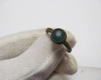 Ancient bronze ring with Glass
