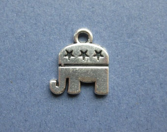 5 Republican Elephant Charms - Elephant Pendants - Elephant - Republican Charm - Republican - Antique Silver - 13.5mm x 14.5mm --(I3-10247)