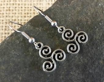 Celtic triple spiral earrings, celtic triskele, triskelion, wicca, pagan jewellery, gift, surgical steel earrings