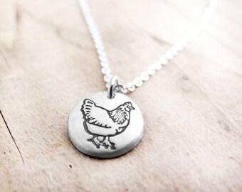 Tiny Chicken necklace,  silver chicken jewelry, small chicken pendant necklace, hen, backyard chicken