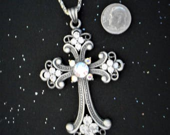 Large Cross Rhinestone Studded Cross with Silver Chain