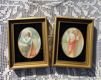 Lovely Antique Pair of Jesus prints Pre-war gold wood frames with painted glass mats