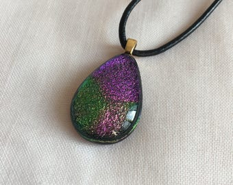 Purple and Green Dichroic Pendant