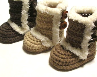 Ugg inspired winter boots for baby.  Crochet baby boot booties.  Trendy baby booties.  Made to order.