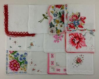 Vintage Hanky Lot of One Dozen Assorted Vintage Hankies Handkerchiefs (Lot #S12)