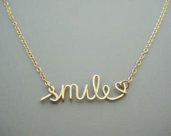 Smile Necklace with A Tiny Heart - cursive word on 14k gold filled delicate chain, inspirational jewelry, encouragement gift