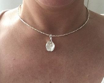 Silver flower choker. Karen hill tribe necklace. Silver beaded choker. Fine silver necklace. Karen hill beaded jewellery. Silver choker