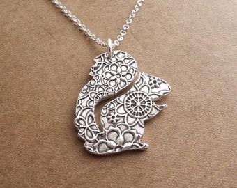 Squirrel Necklace, Flowered Squirrel Pendant, Fine Silver, Sterling Silver Chain, Made To Order