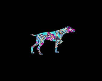 German Shorthaired Pointer on Point patterned vinyl decal in many prints and sizes!