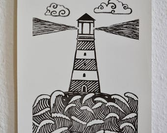 Linocut Print, Lighthouse Print, Sea Print, Home Decor, Block Print, Relief Print, Handmade, Lino Print, Graphic, Linoart, Linoart Prints
