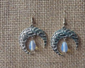 Moon Silver crescent Moon Earrings Moonstone Earrings Gemstones Moon Earrings