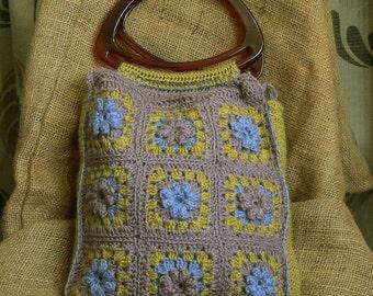 Funky granny square crocheted handbag