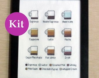 Coffee infographic cross stitch kit Gilmore Girls barista gift