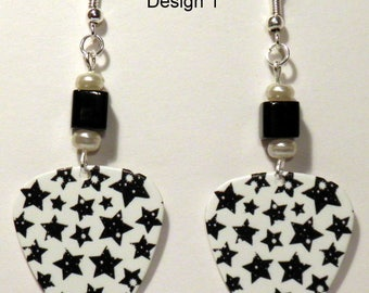 STARS Outer Space Star Planets on Guitar Pick Beaded Earrings - Handmade in USA