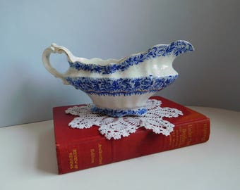Vintage flow blue gravy boat Henry Alcock flow blue china English flow blue