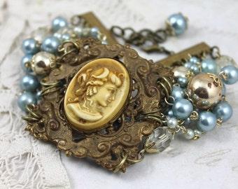 Art Nouveau Assemblage Bracelet, Vintage Cameo Bracelet, MultiStrand Beaded Cameo Bracelet, Bridal Cameo Bracelet, Something Blue Bracelet