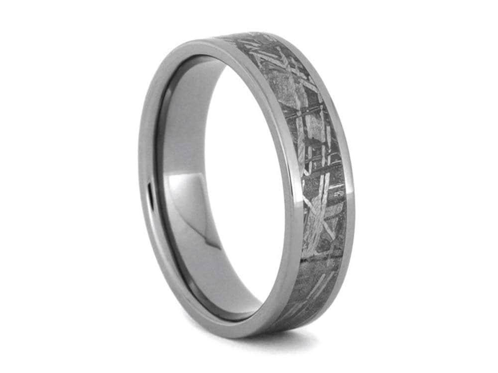 Meteorite Ring Meteorite Wedding Band Titanium Ring Mens