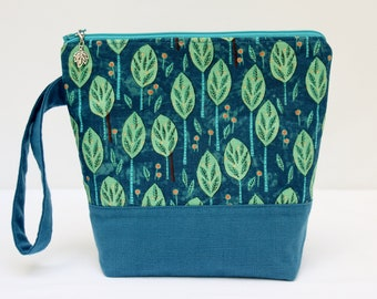 Sock Project Bag, Knitting Project Bag, Small Project Bag, Crochet Project Bag, Cross Stitch Project Bag, Zipper Project Bag, TREES