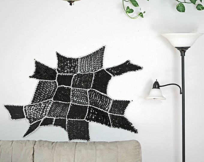 Modern Fiber Art Black White Yarn Tissage Mural Ombre Patch Asymmetrical Tapestry Wall Hanging Handmade Gift Interior Home Decor CrochetKnit