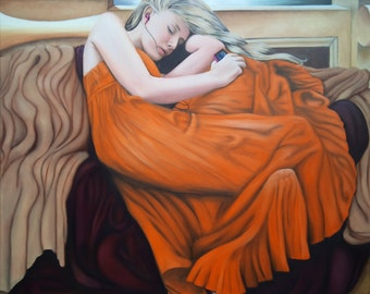 "Giclee Print of original painting ""Flaming Elise"", girl on lounge in orange dress with ipod"