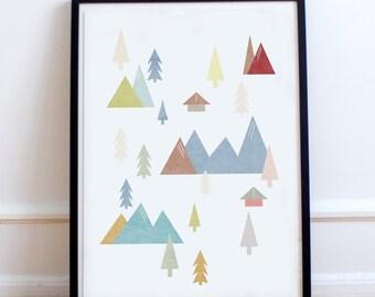 Scandinavian Coloured Mountain Range Poster Print- Minimalist, nordic, pastel colours print