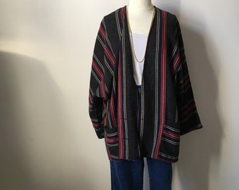 Vintage 70s, 1970s cardigan sweater jacket, long jacket, hippy boho, Woodstock, stripe top, oversized, M-L