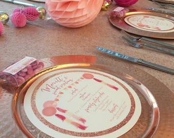 Sweet 16 Birthday Menu Circles, Rose Gold Glitter Faux Design Circle Menu, Any Size ROUND MENU, Charger Menu, Reception Menu Cards