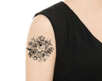 Temporary Tattoo - Vintage Black and White Flower / Rose / Sunflower / Camellia / Tattoo Flash