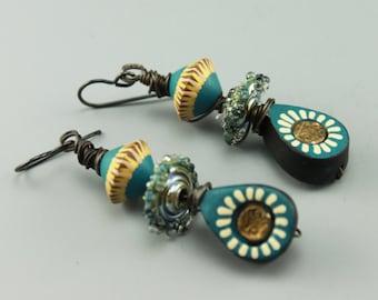Rustic Earrings, Boho Earrings, Rustic Boho Earrings, Hippie Earrings, Tribal Earrings, Earthy Earrings, #584-114