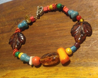 """Red Coral, Art Glass, Stone,  Turquoise, Wood Bead Toggle Bracelet 8"""""""