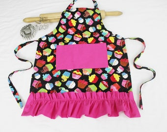 Colorful Cupcakes on Black Ruffled Child Apron with hot pink pocket and ruffle - ready to ship